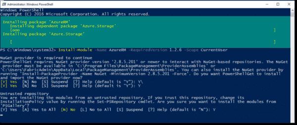 Install AzureRM module