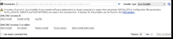 Java Runtime Installer parameters
