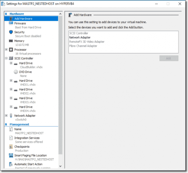 MAS host VM settings