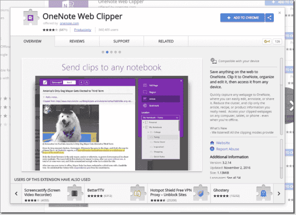 OneNote extension