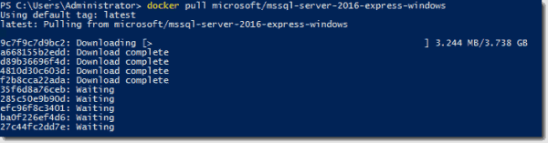 Pulling SQL Server Express image from DockerHub