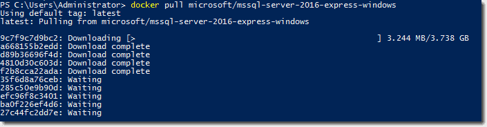 How to run SQL Server Express 2016 in a Windows Container