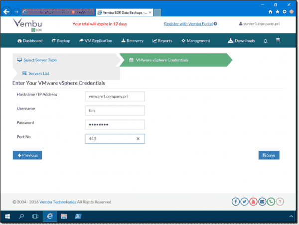 Adding a VMware host to the VMBackup management server