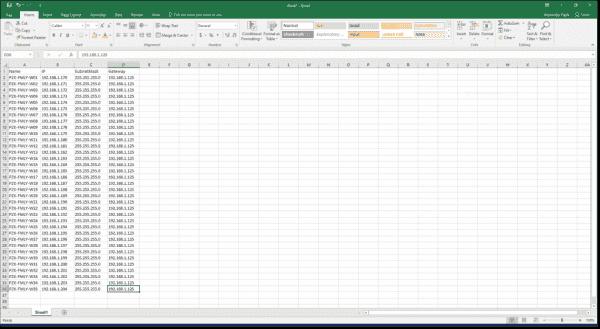 Create Excel spreadsheet