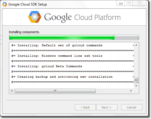 Google cloud SDK setup details