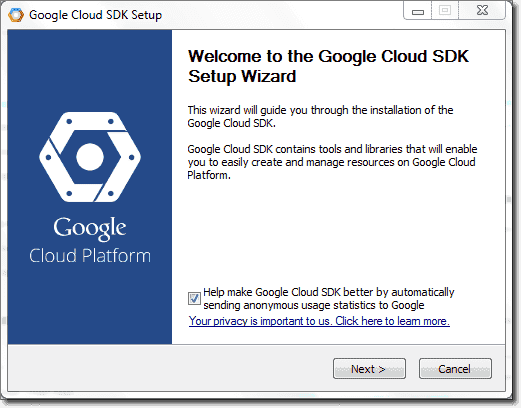 Google cloud SDK setu