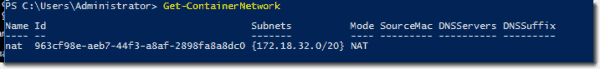 Listing available networks with the PowerShell cmdlet Get ContainerNetwork