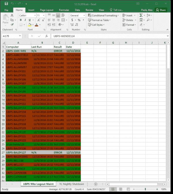 Scheduled tasks workbook