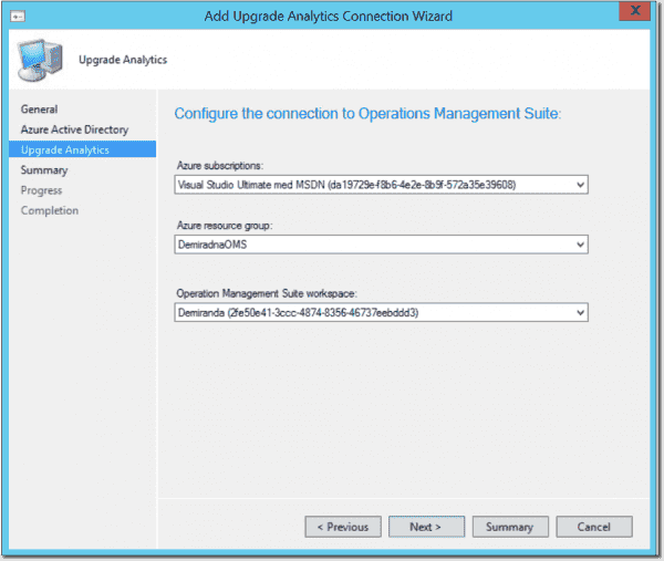 Selecting subscription, Azure Resource Group and OMS workspace