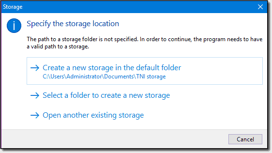 TNI inventory data consumes minimal disk space