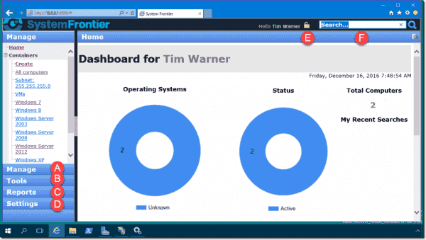 The System Frontier web administration console