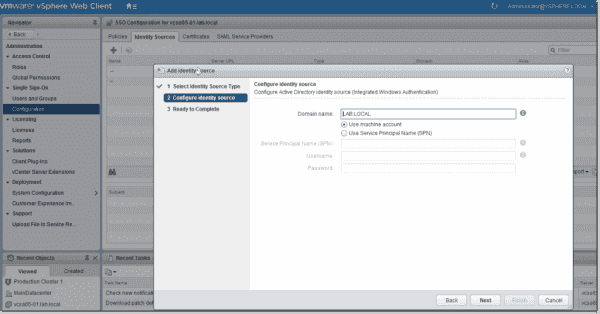Add an identity source to vSphere single sign on