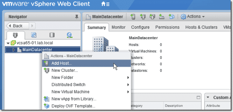 How to add an ESXi 6 5 host to vCenter Server (VCSA) 6 5