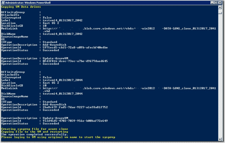 Cone data drives in Azure with PowerShell
