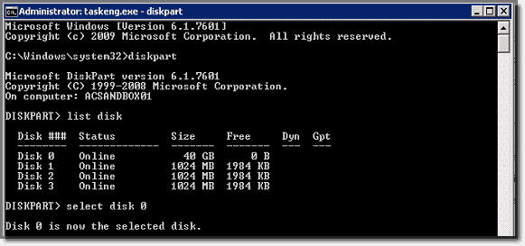 Getting the disk and partition numbers with diskpart