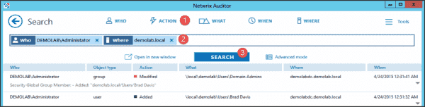 Netwrix Auditor's Interactive Search