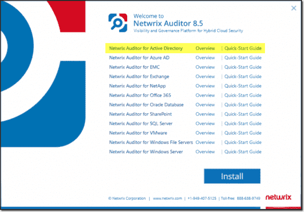 Netwrix Auditor is a suite of product specific applications