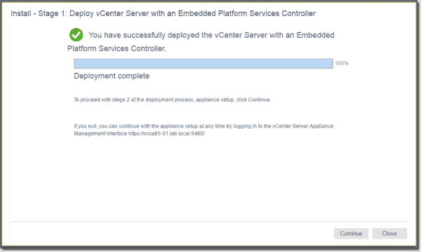 Starting the VMware vCenter (VCSA) 6.5 configuration