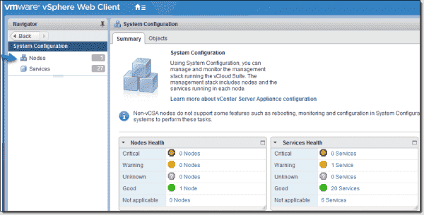 vCenter Server configuration Select nodes