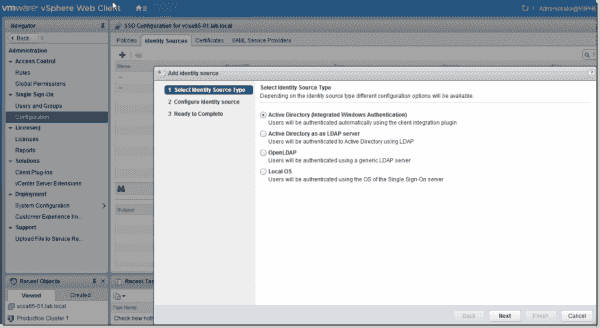 vSphere 6.5 Select an identity source type
