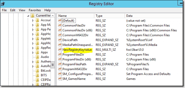 A registry key created