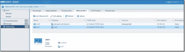 Add a VMkernel NIC for the iSCSI connection