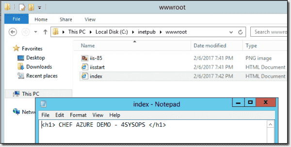 An index template file copied over to the wwwroot folder
