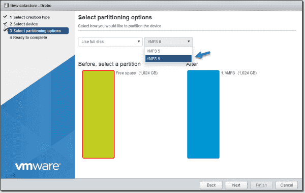Create a VMFS 6 datastore