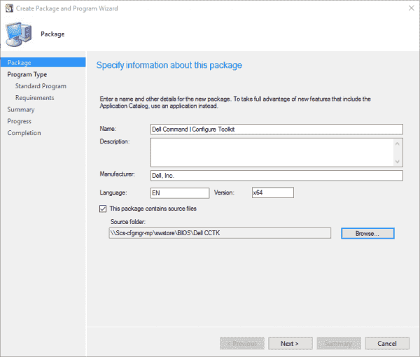 Dell Command | Configure Toolkit package