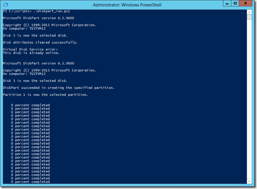 Initializing and formatting Azure VM data drives using
