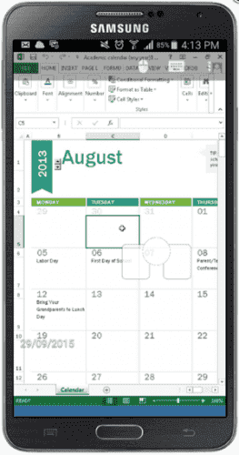 Microsoft Excel running on an Android smartphone (image credit Parallels)