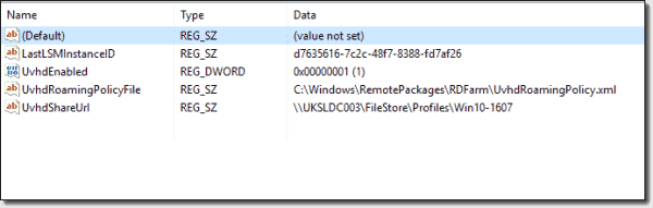 User Profile Disks Registry values