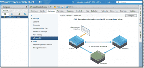 High Availability of vCenter Server Appliance (VCSA 6.5) with active-passive configuration