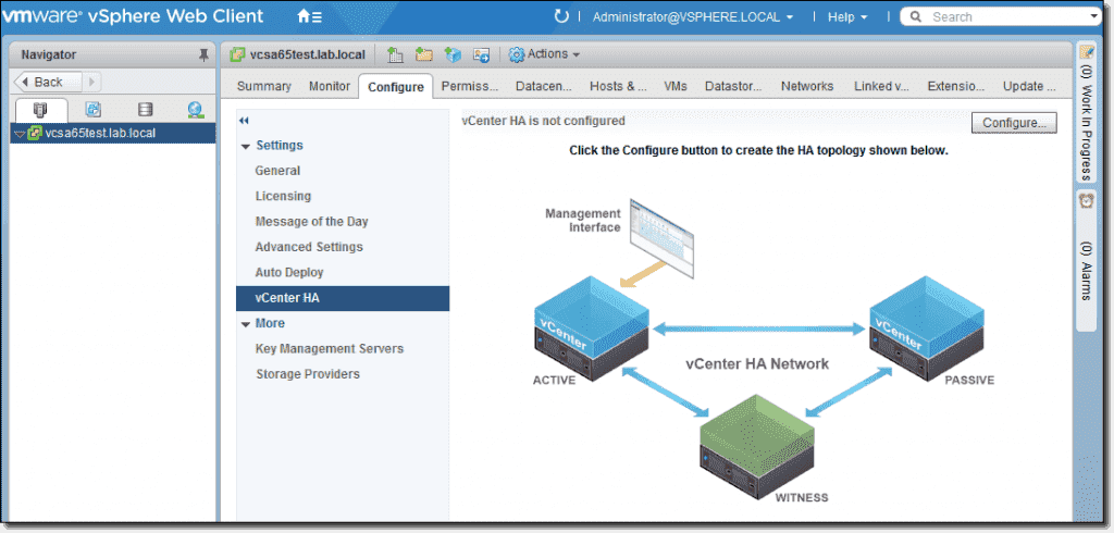 High Availability of vCenter Server Appliance (VCSA 6 5