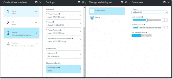 Availability set settings in Azure Portal
