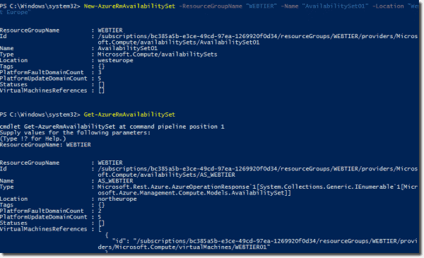 AzureRM commands to create availability sets