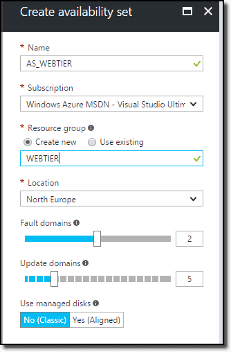 Create an availability set on Azure Portal
