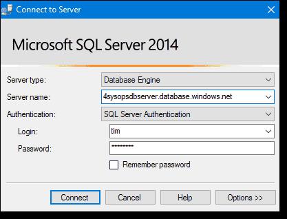 Logging into Azure SQL Database