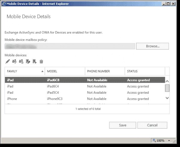 Microsoft Exchange control panel Mobile device details