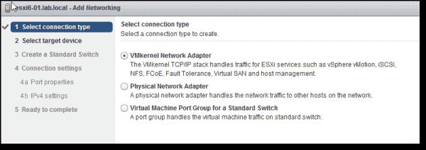 New VMkernel Network Adapter
