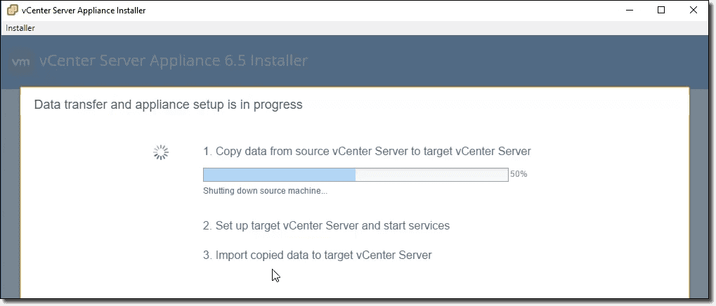 Migrate from Windows-based vCenter to vCenter Server Appliance 6 5