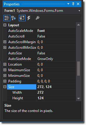 Size: width and height