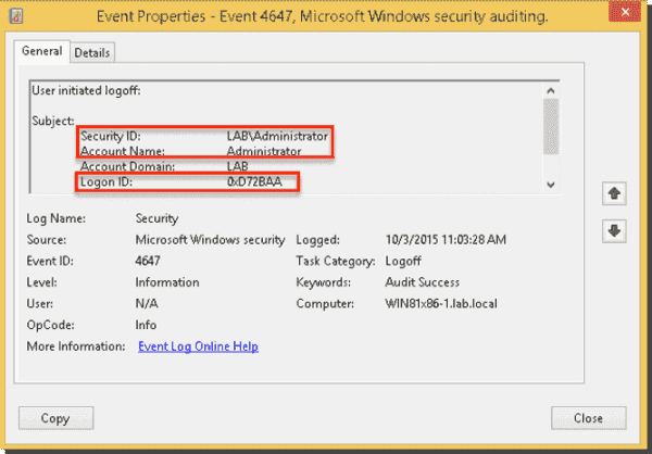 User logoff event showing the Logon ID