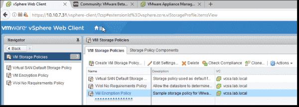 VM Storage policies