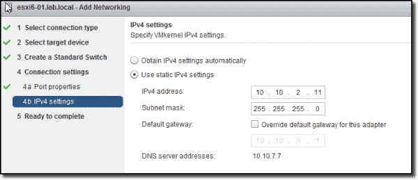 VMkernel IPv4 settings
