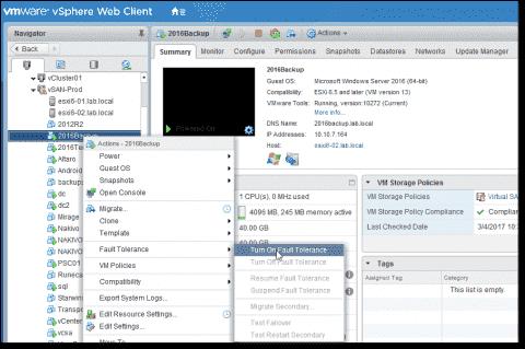 VMware vSphere 6.5 Fault Tolerance - Details and configuration