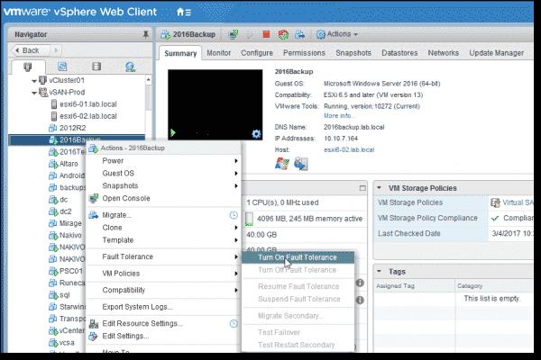 VMware vSphere 6.5 Fault Tolerance activation process