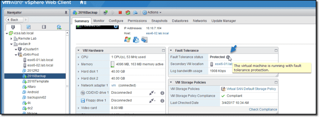 VMware vSphere 6 5 Fault Tolerance – Details and