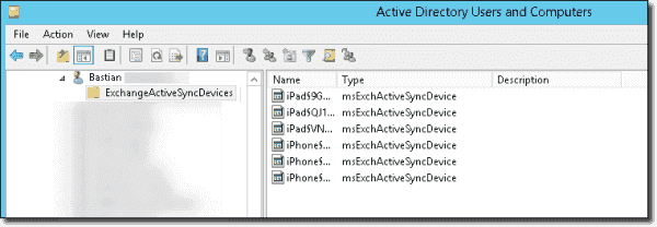msExchActiveSyncDevices objects in Active Directory