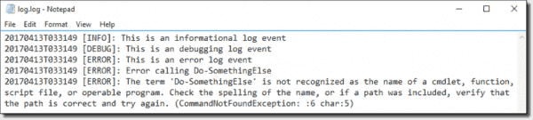 A log file created with Write LogEntry